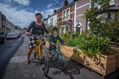 Local cycling campaigner Zoe Banks Gross with her son. Bike Life 2017